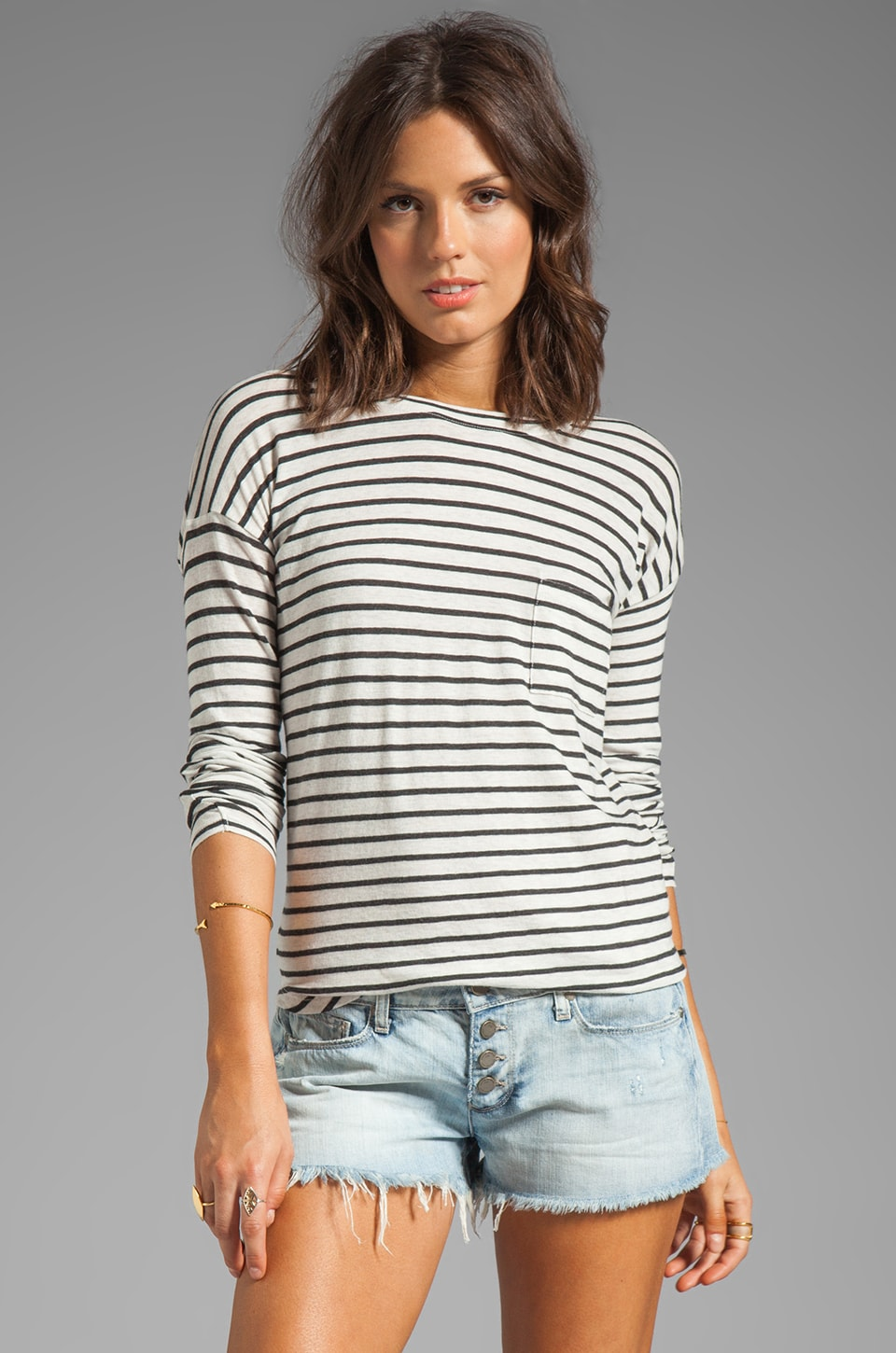 Vince 3/4-Sleeve Striped Tee in Heather Black and White