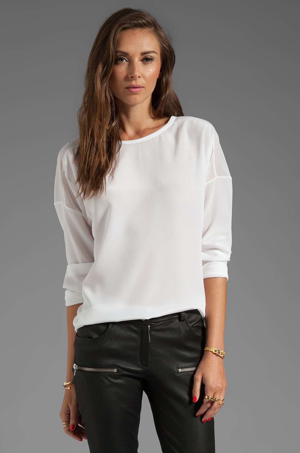Vince Sheer Trim Silk Blouse in White