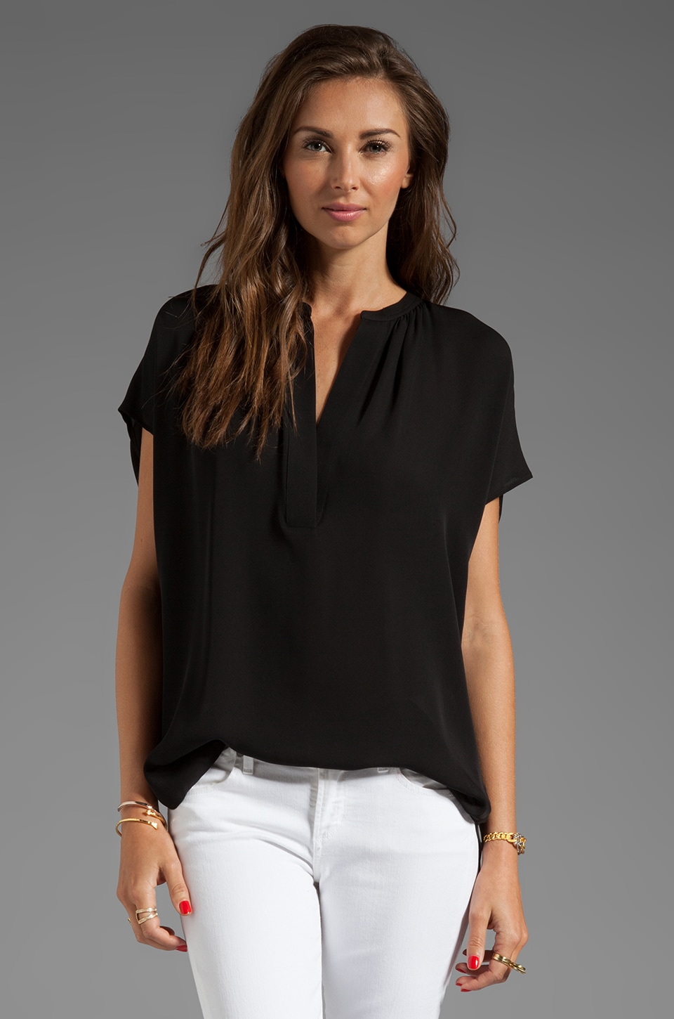 Vince Cap Sleeve Popover Blouse in Black