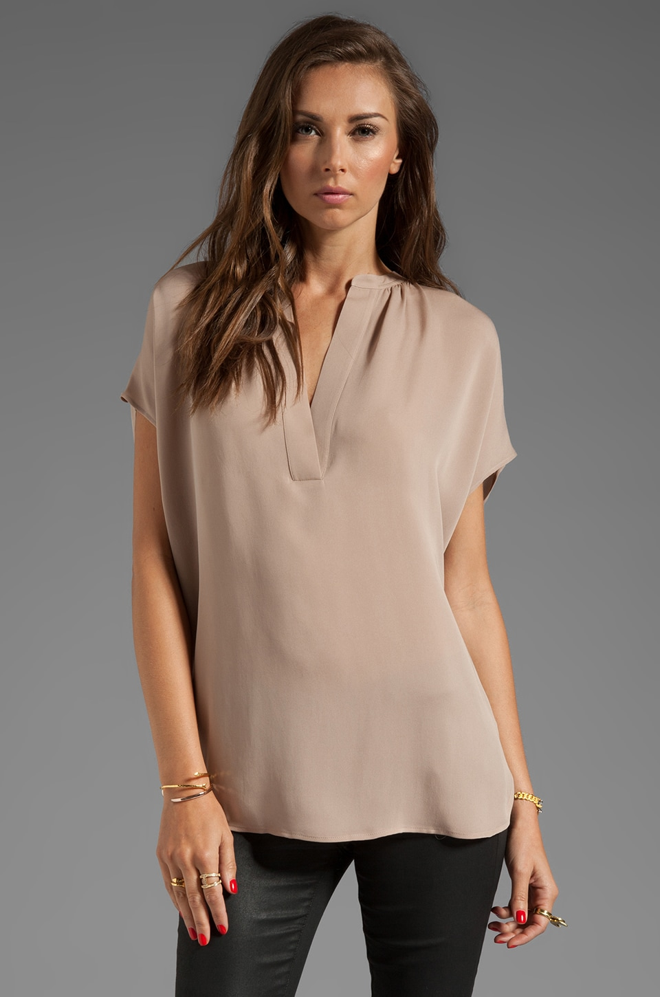 Vince Cap Sleeve Popover Blouse in Mink