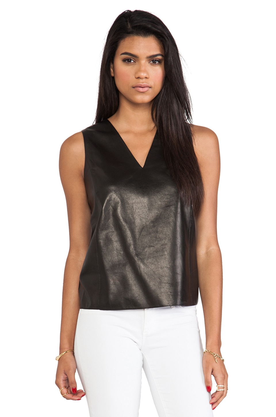 Vince Silk Back V-Neck Leather Shell