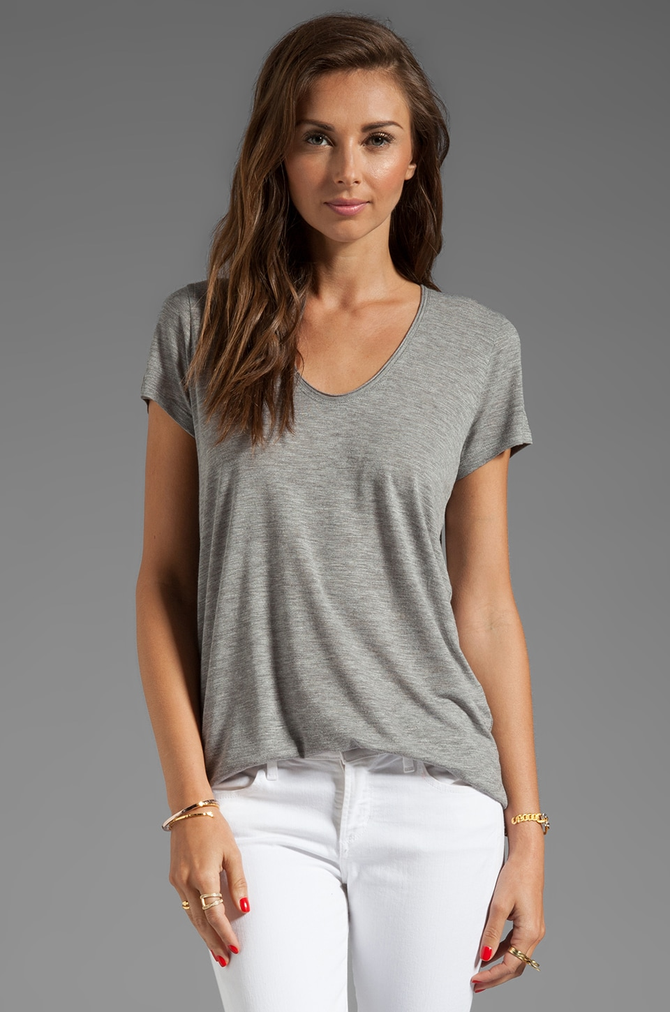 Vince Short Sleeve Rolled V-Neck Tee in Heather Grey