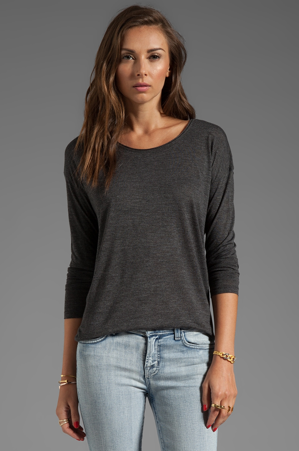 Vince Rolled Neck Long Sleeve in Heather Black