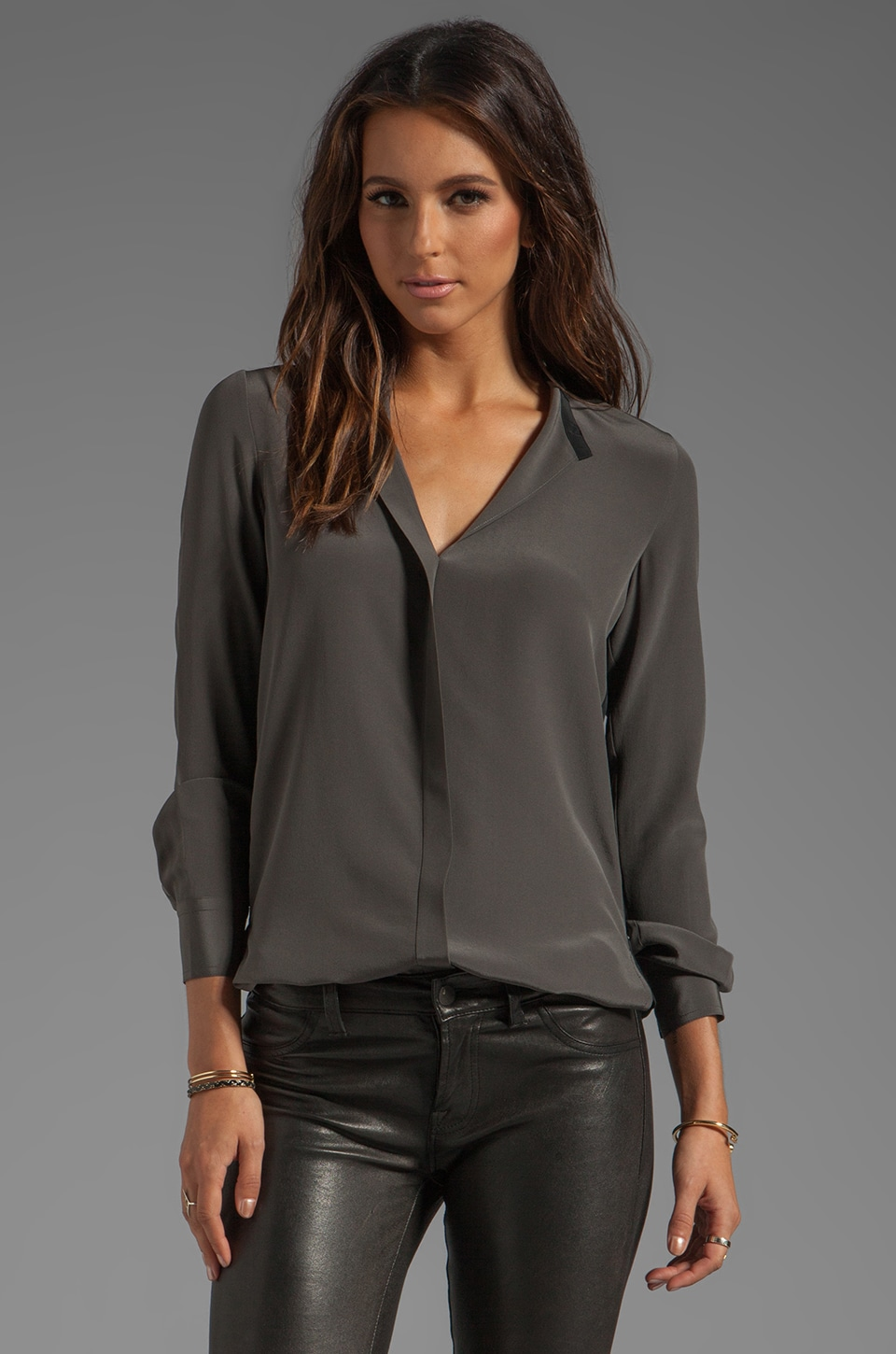 Vince Colorblock Blouse in Fatigue/Black