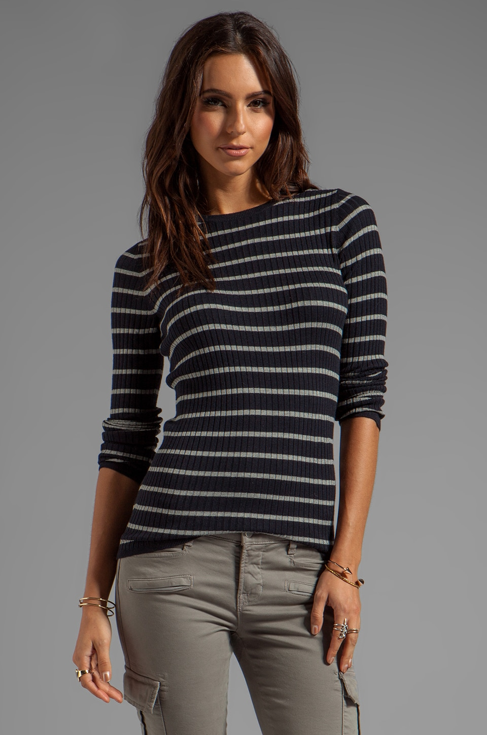Vince Striped Long Sleeve Crew en Coastal/Heather Platinum