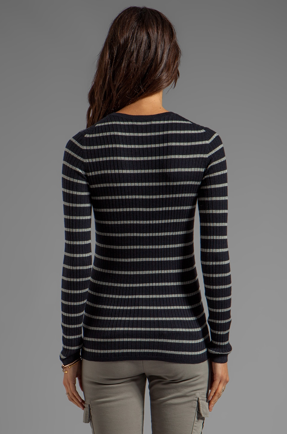 Vince Striped Long Sleeve Crew in Coastal/Heather Platinum