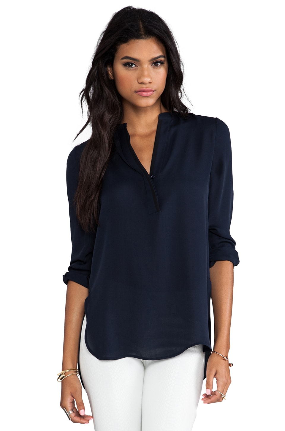 Vince Tipped Contrast Blouse in Coastal & Black