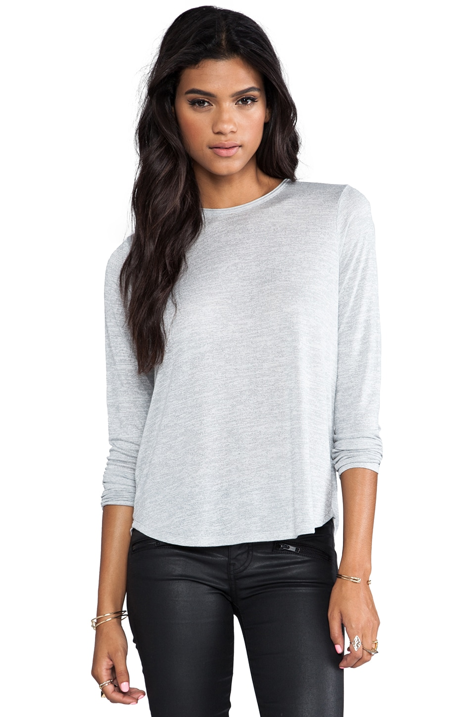 Vince Long Tail Hem Crew Neck Tee in Silver