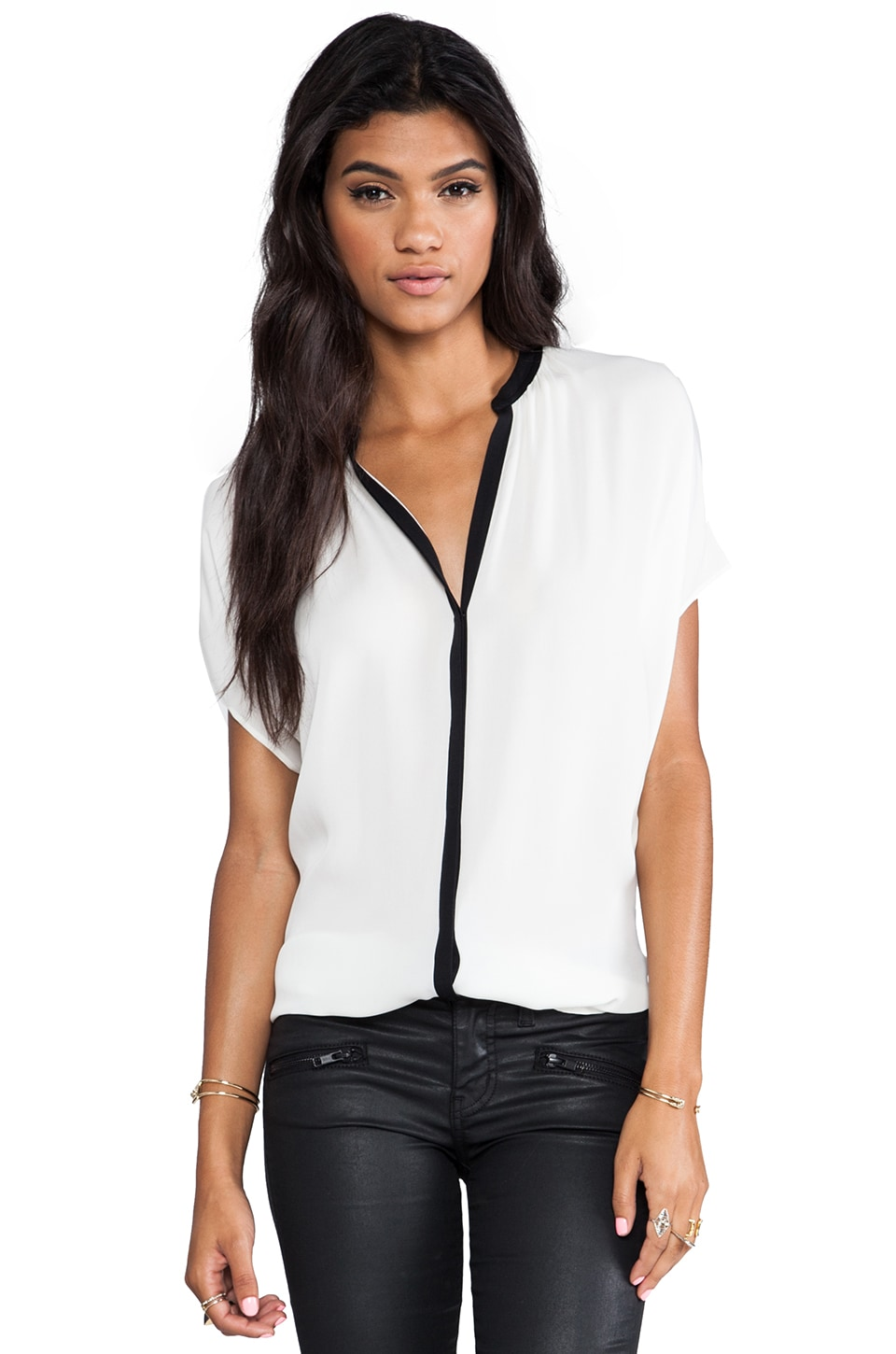 Vince Contrast Placket Blouse in Ivory & Black