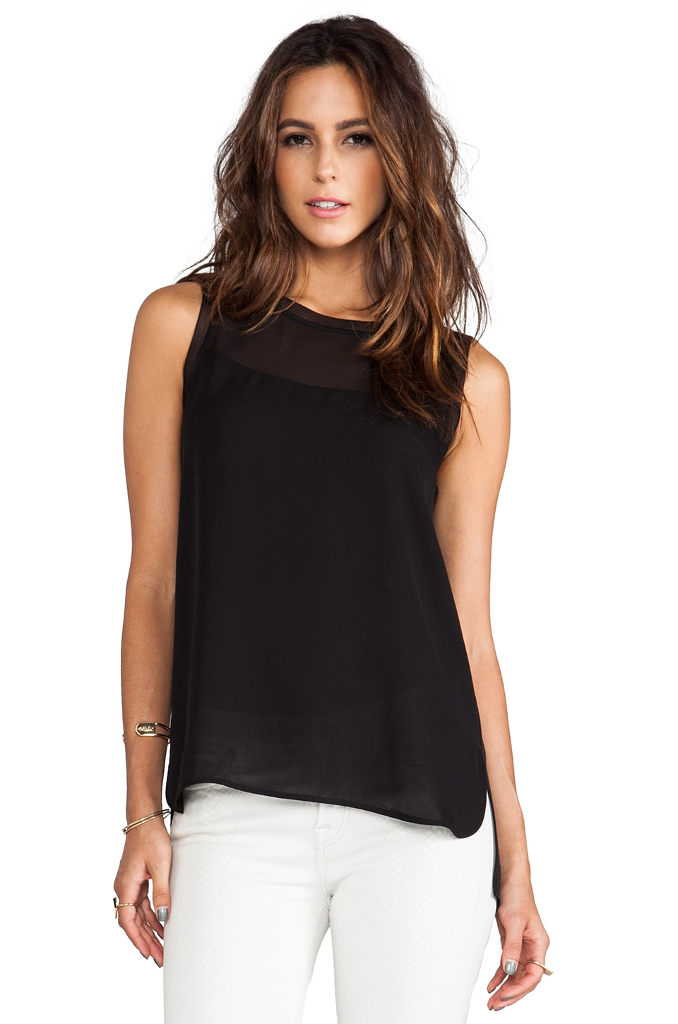 Vince Sheer Inset Tank in Black