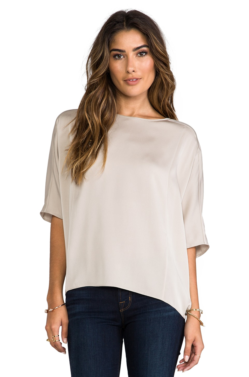 Vince Sculptured Blouse in Almond