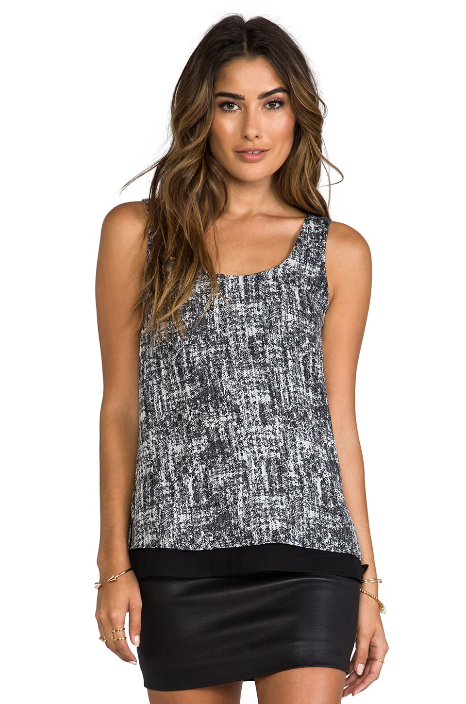 Vince Double Layer Tank in White & Black