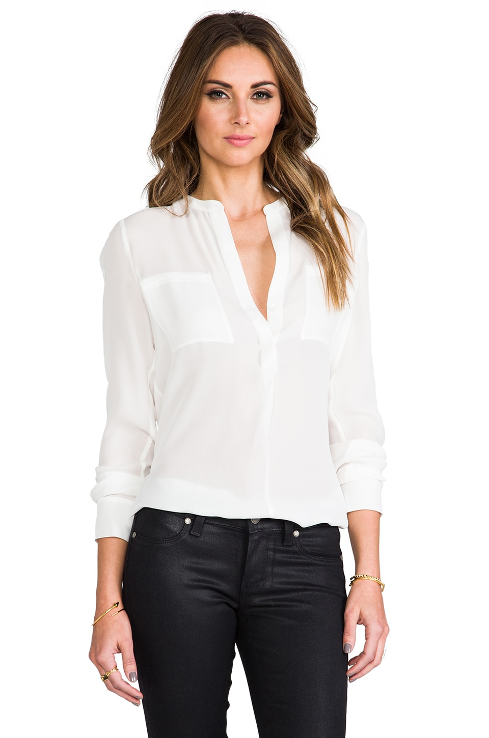 Vince Welt Pocket Blouse in Lace