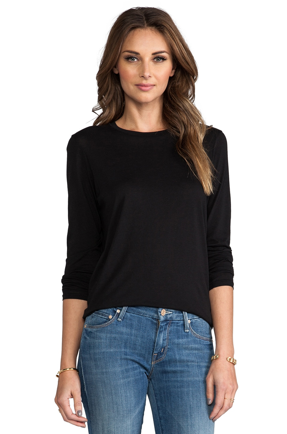 Vince Solid Long Sleeve Tee in Black