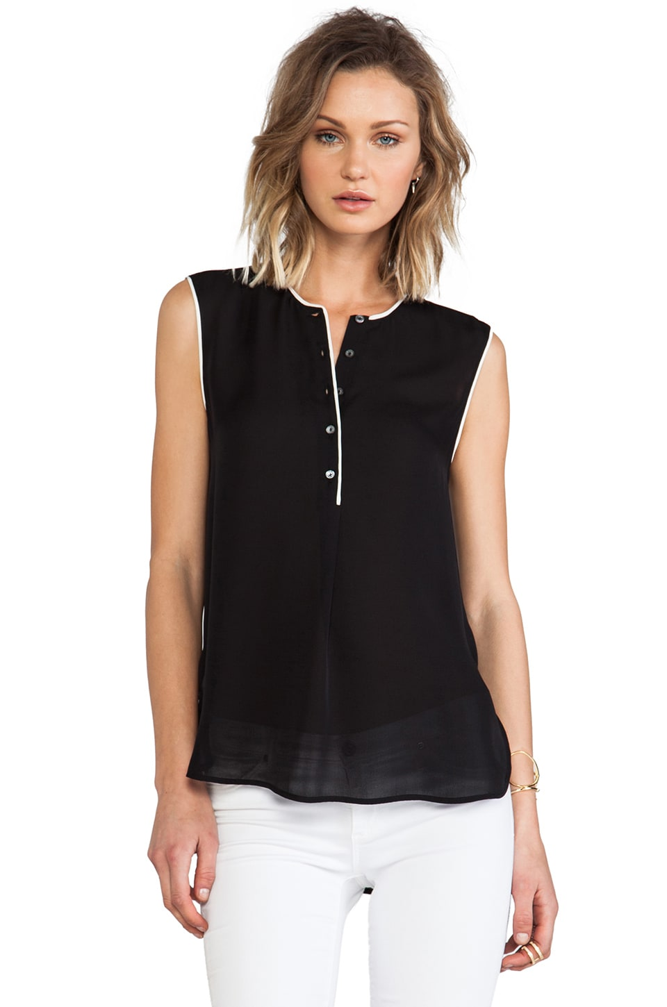 Vince Color Tipped Sleeveless Blouse in Black & Magnolia