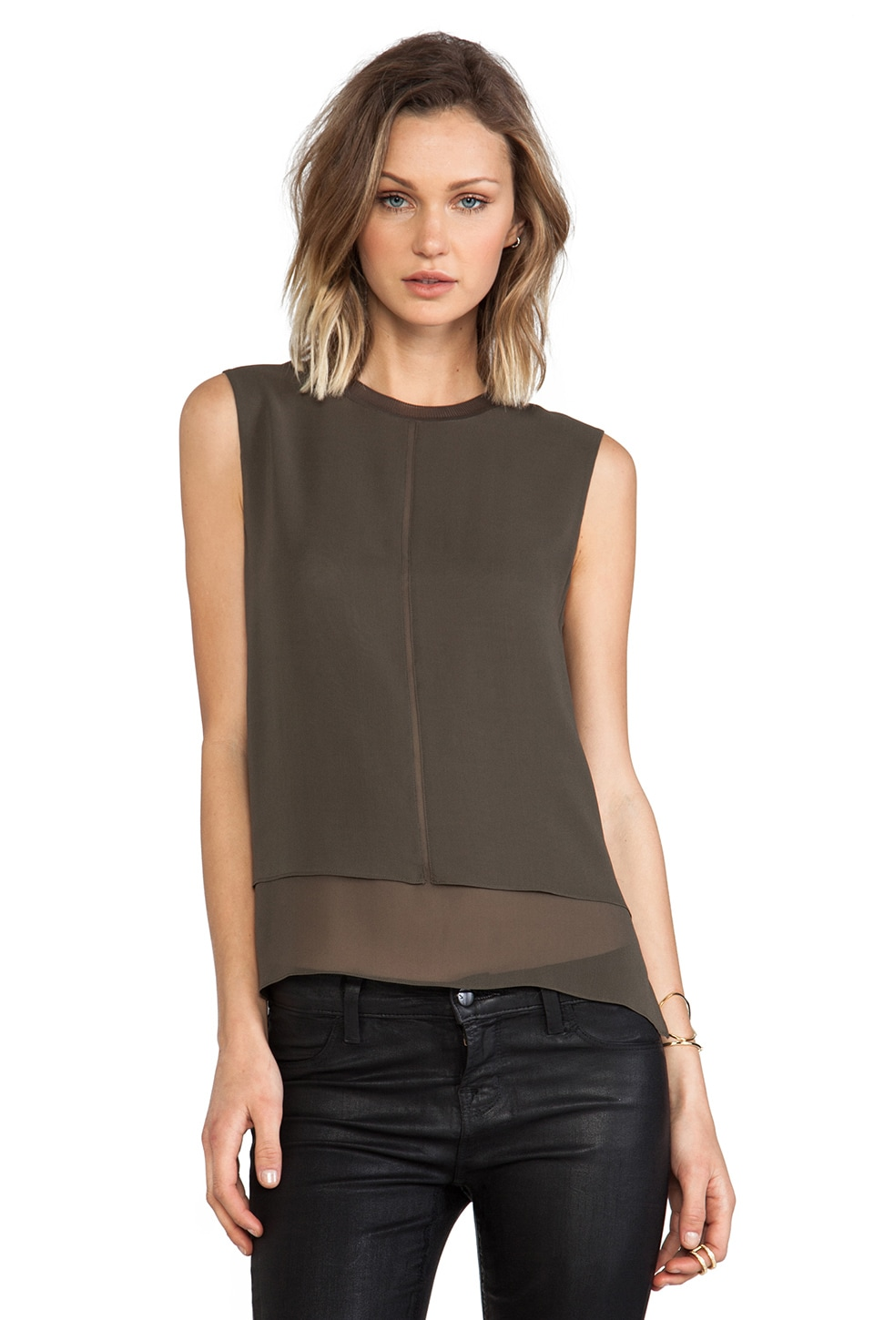 Vince Sleeveless Overlay Tank in Hunter Green