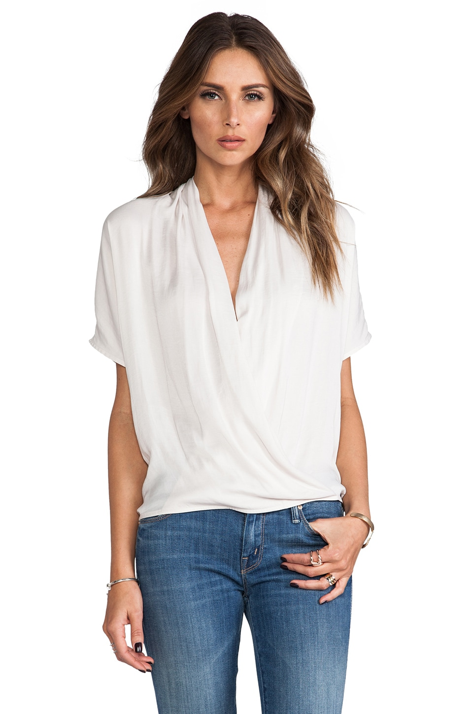 Vince Wrap Blouse in Beige