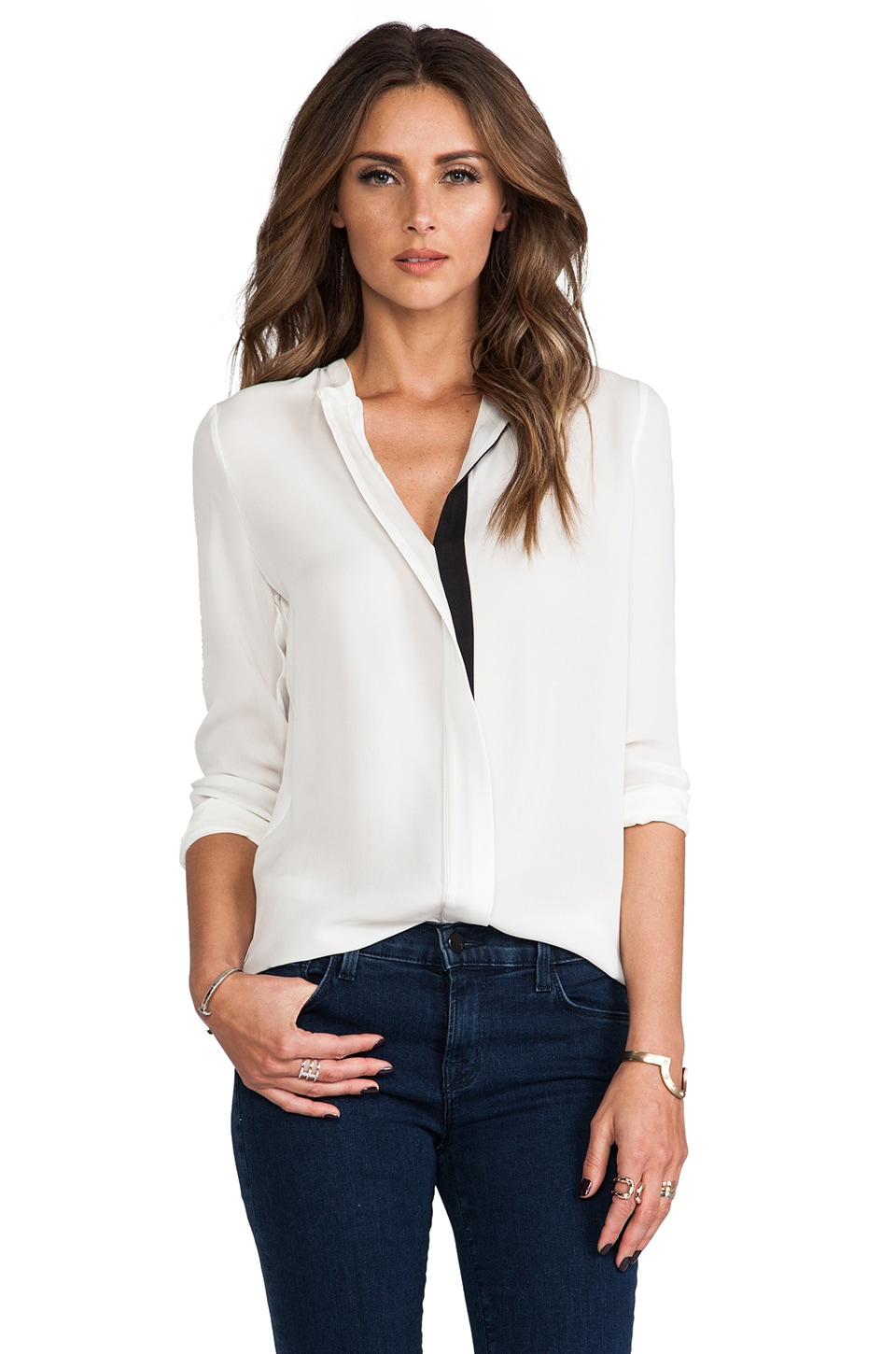 Vince Color Tipped Long Sleeve Button Up in Magnolia & Beige & Black