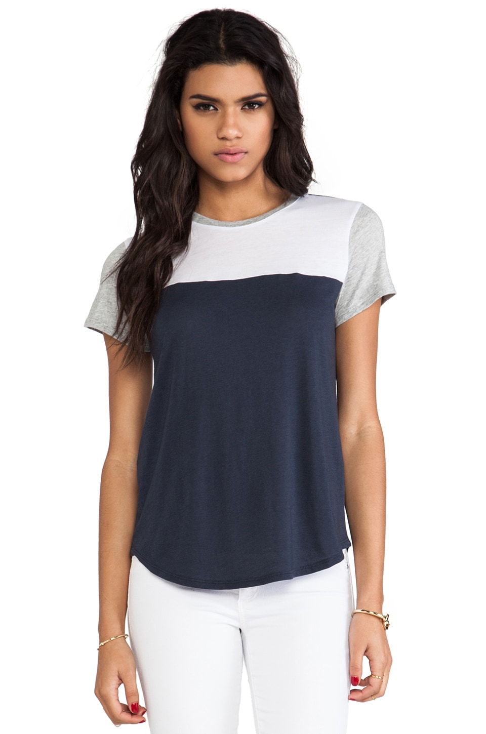 Vince Colorblocked Shirt Tail Tee in Coastal & Heather Grey & White