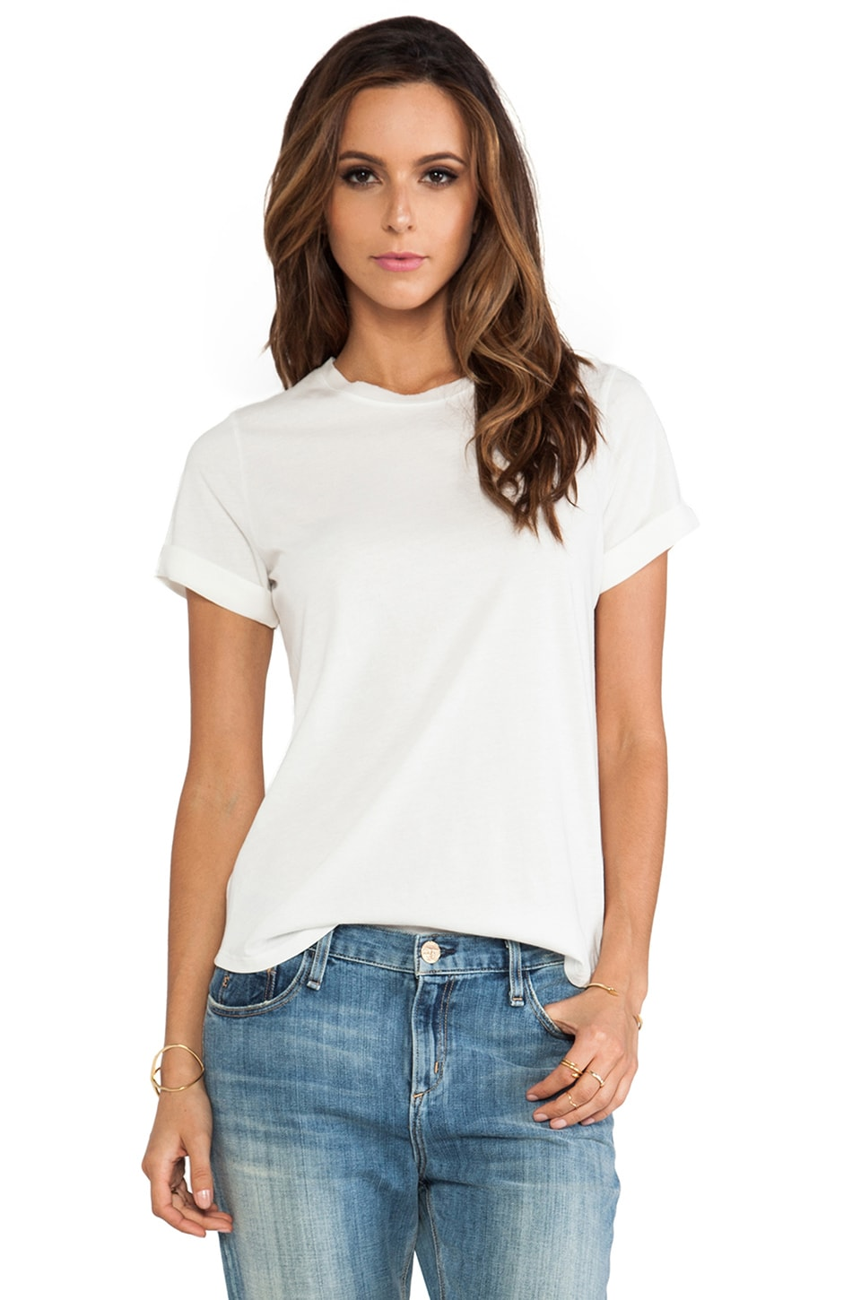 Vince Silk Trim Shirt Tail Tee in Beige