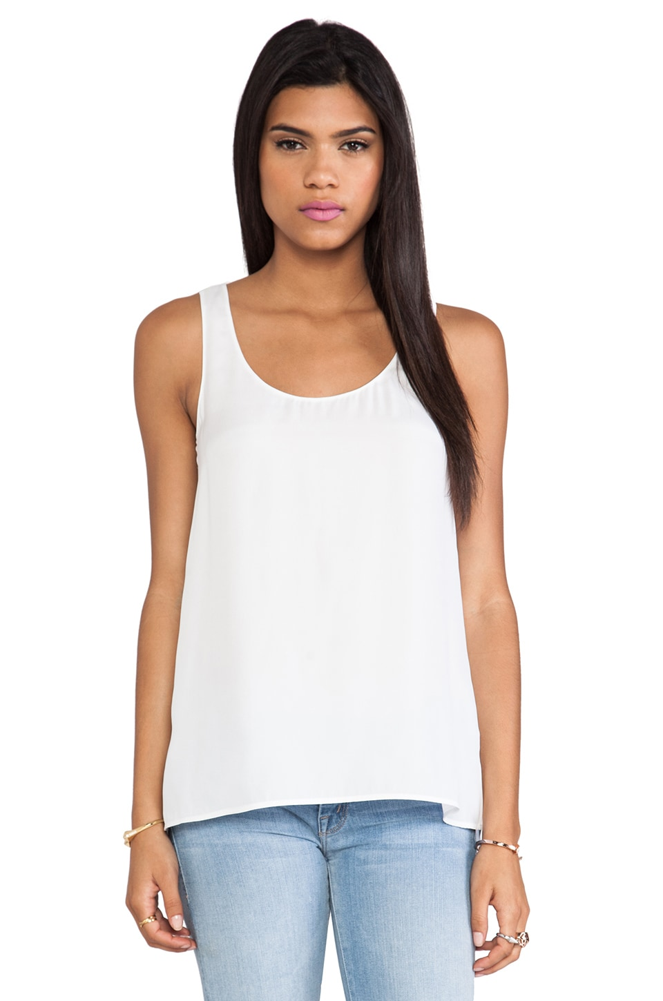 Vince Silk Tank in White
