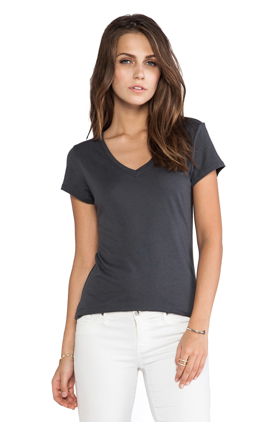 Vince V-Neck Short Sleeve Tee in Forge