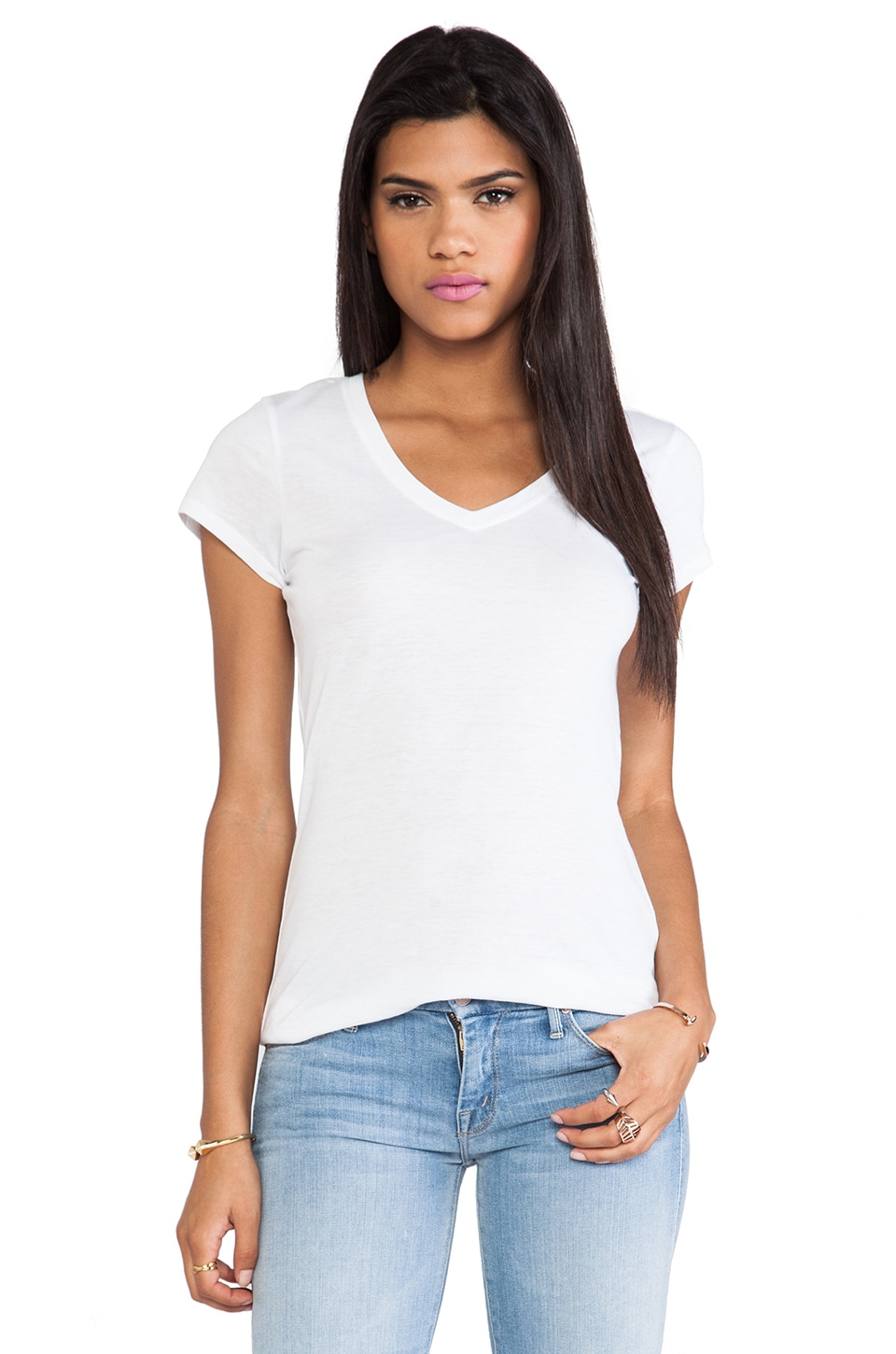 Vince V-Neck Short Sleeve Tee in White