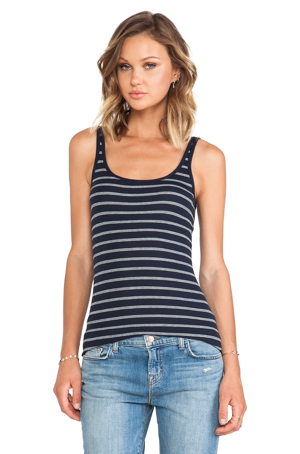 Vince Striped Favorite Tank in Coastal/Papyrus