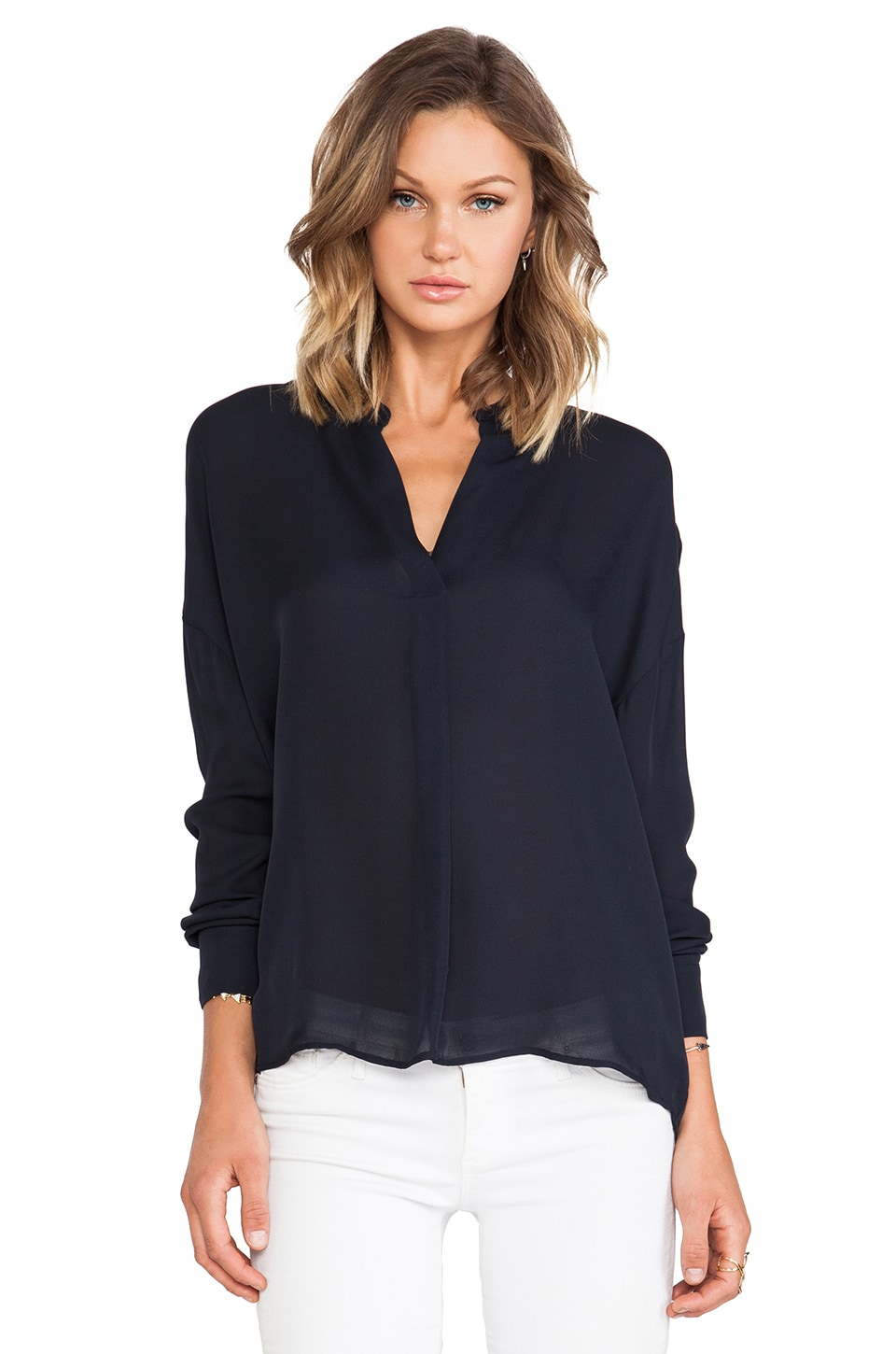 Vince Side Drape Long Sleeve Blouse in Coastal