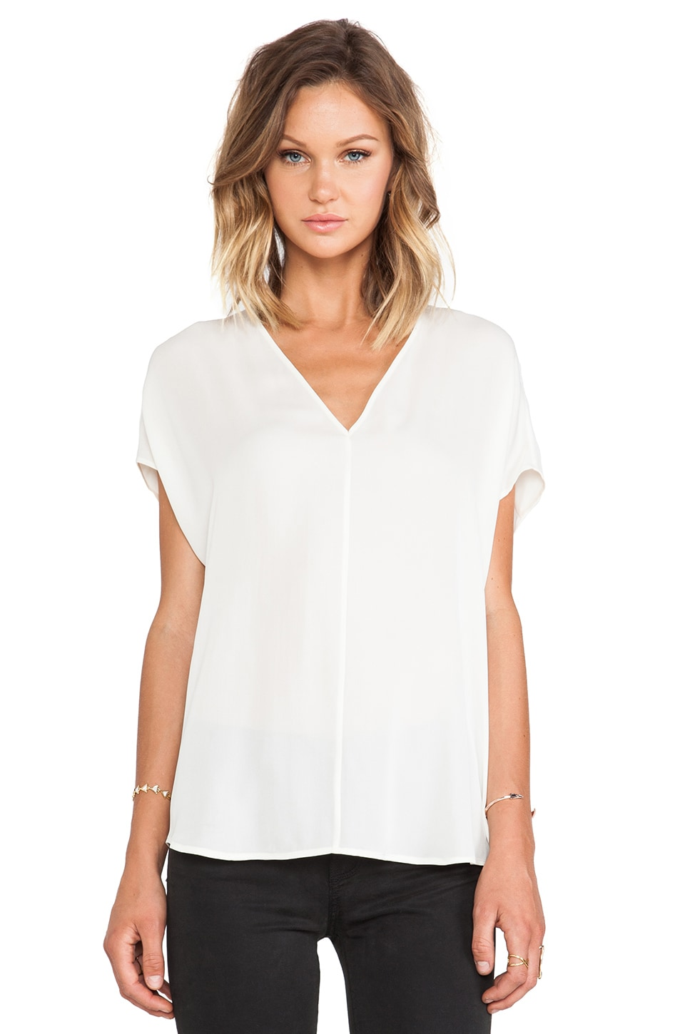 Vince Side Drape V-Neck Blouse in Papyrus