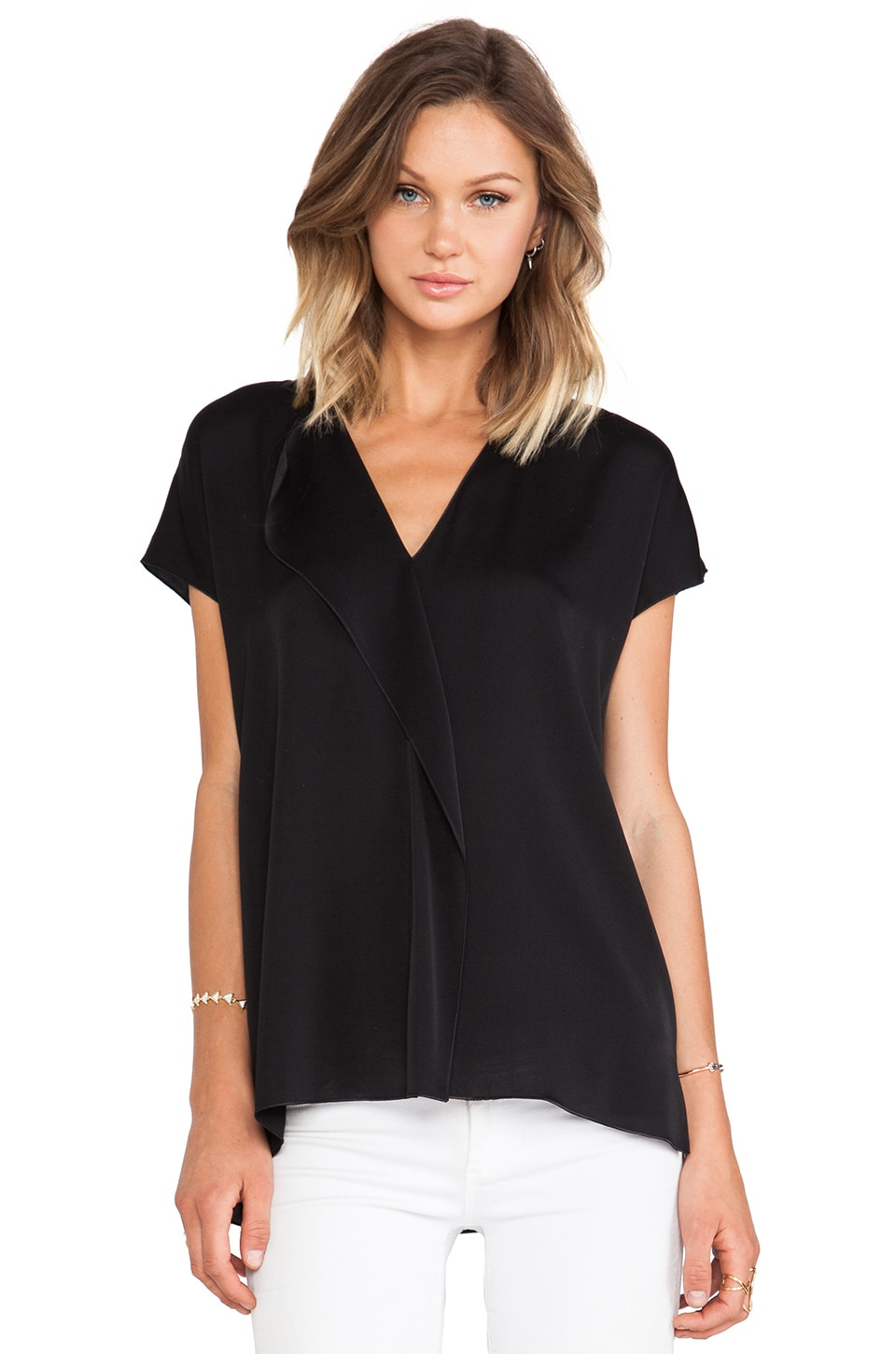 Vince Cascade Short Sleeve Blouse in Black