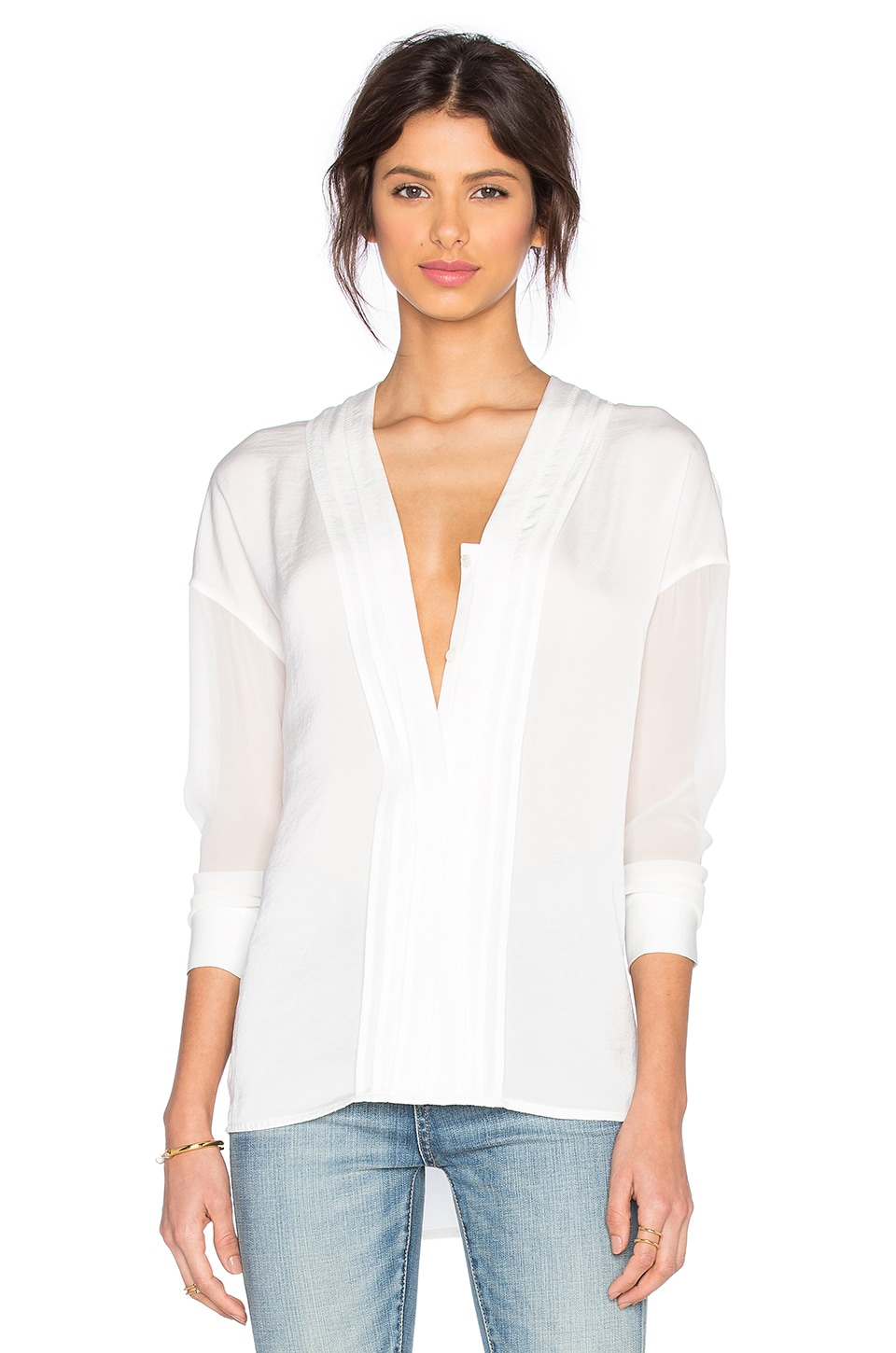 Vince Long Sleeve Embroidered Vee Blouse in Off White & Off White