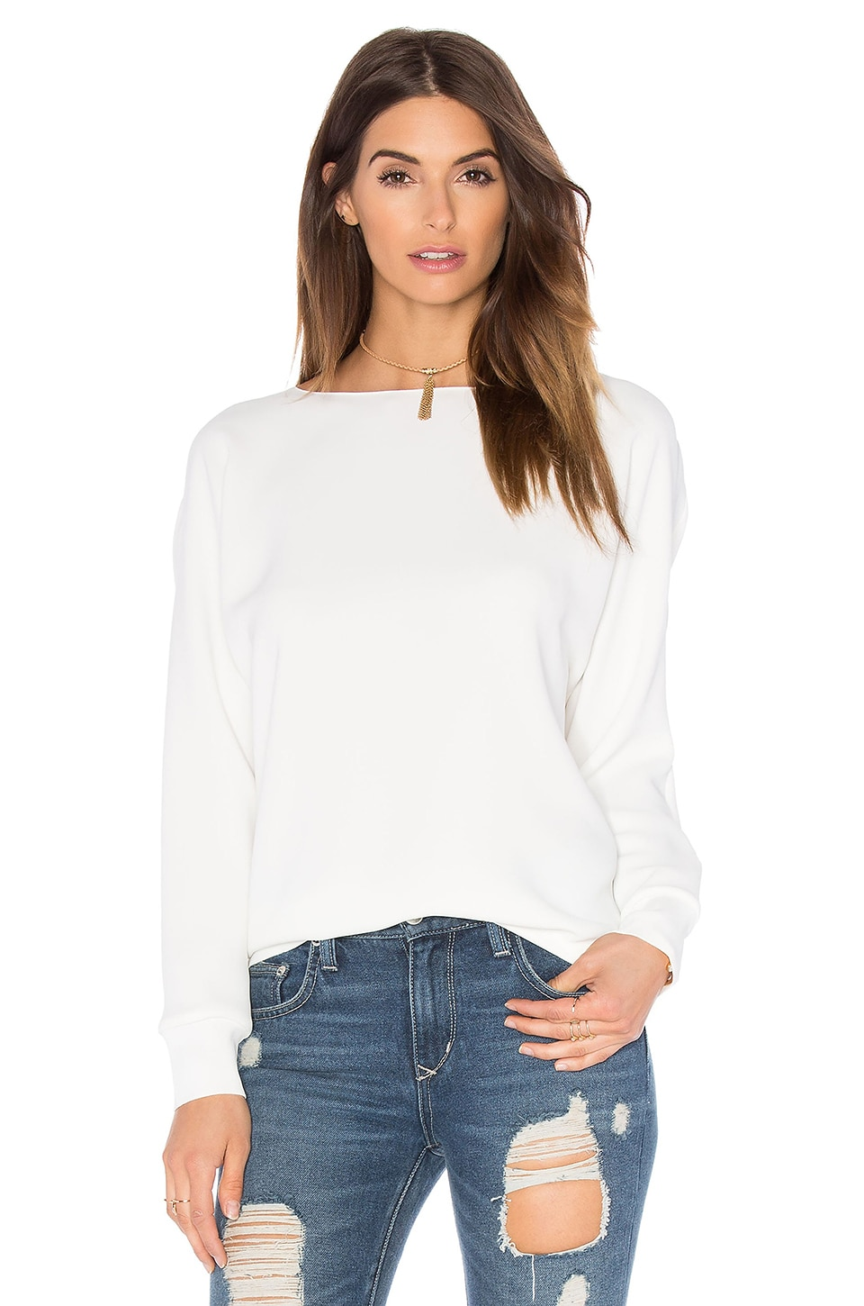 Vince Rib Cuff Dolman Blouse in Off White