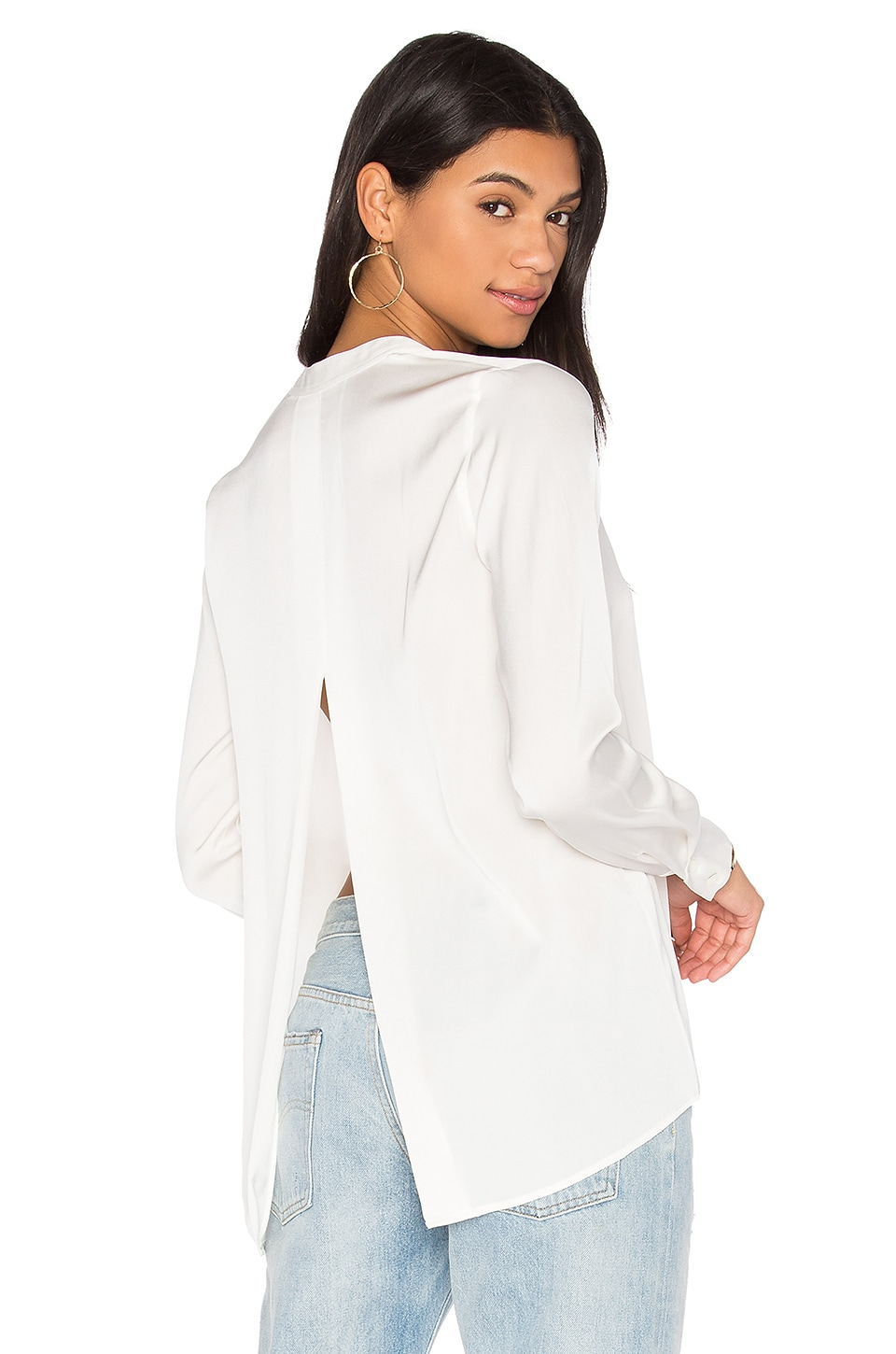 Satin Slit Back Blouse by Vince