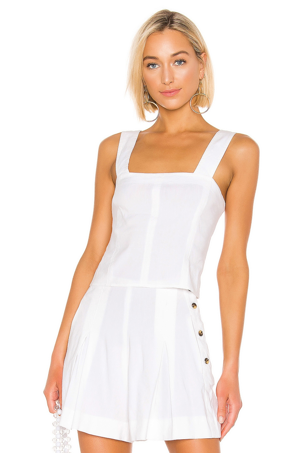Vince Cropped Wide Strap Top in Optic White
