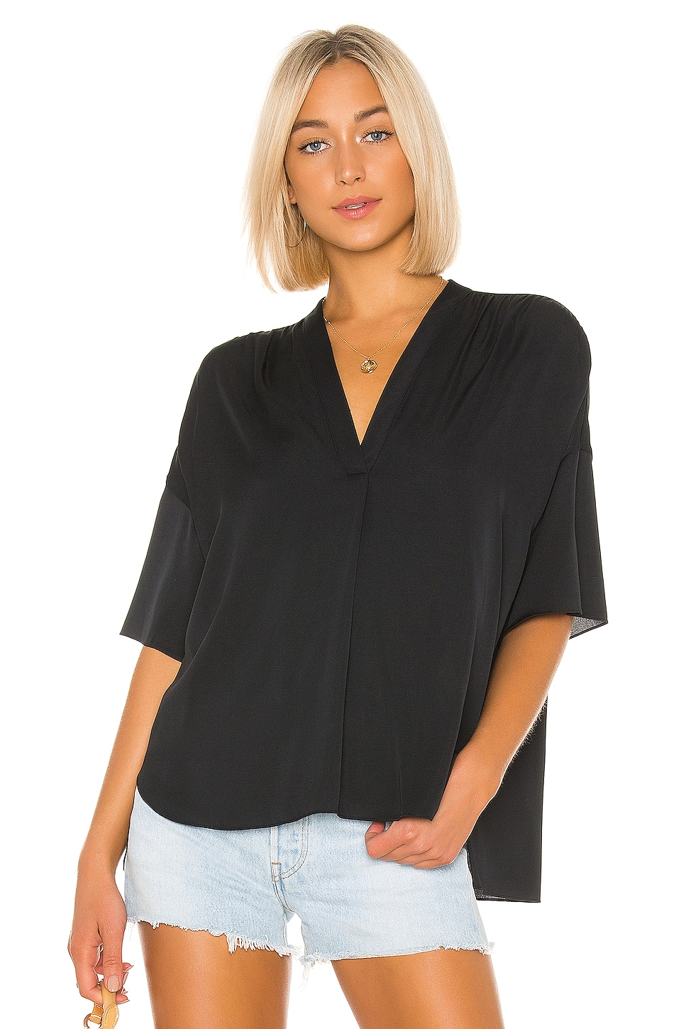 Vince Shirred V Neck Blouse in Black