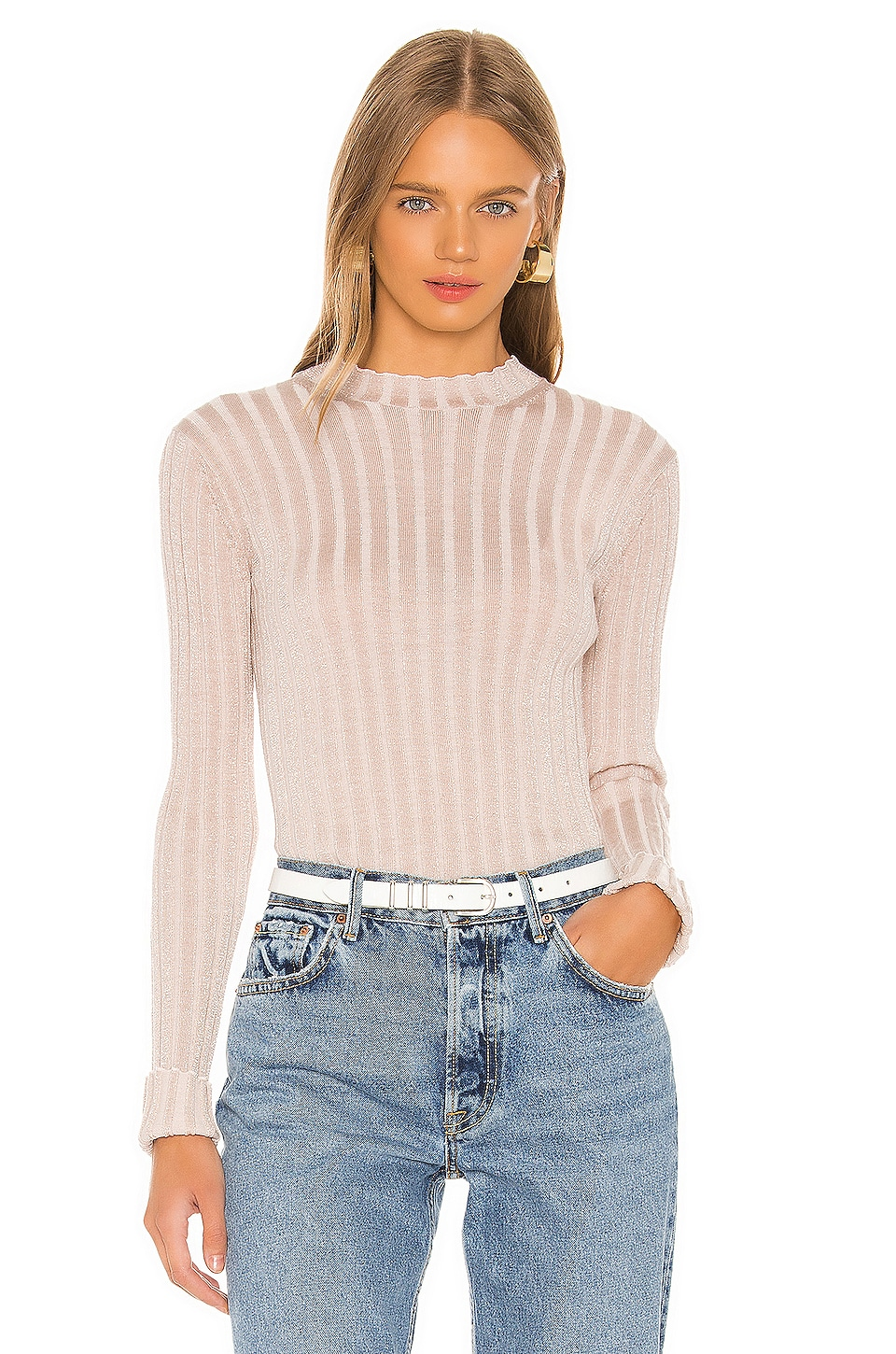Vince Ribbed Mock Neck Pullover in Chiffon