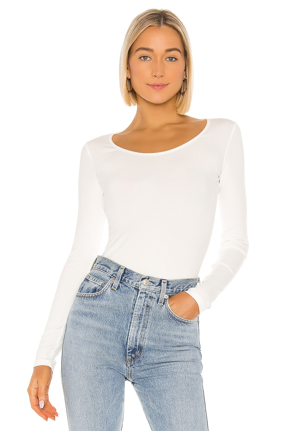 Vince Long Sleeve Deep Scoop Neck in Off White