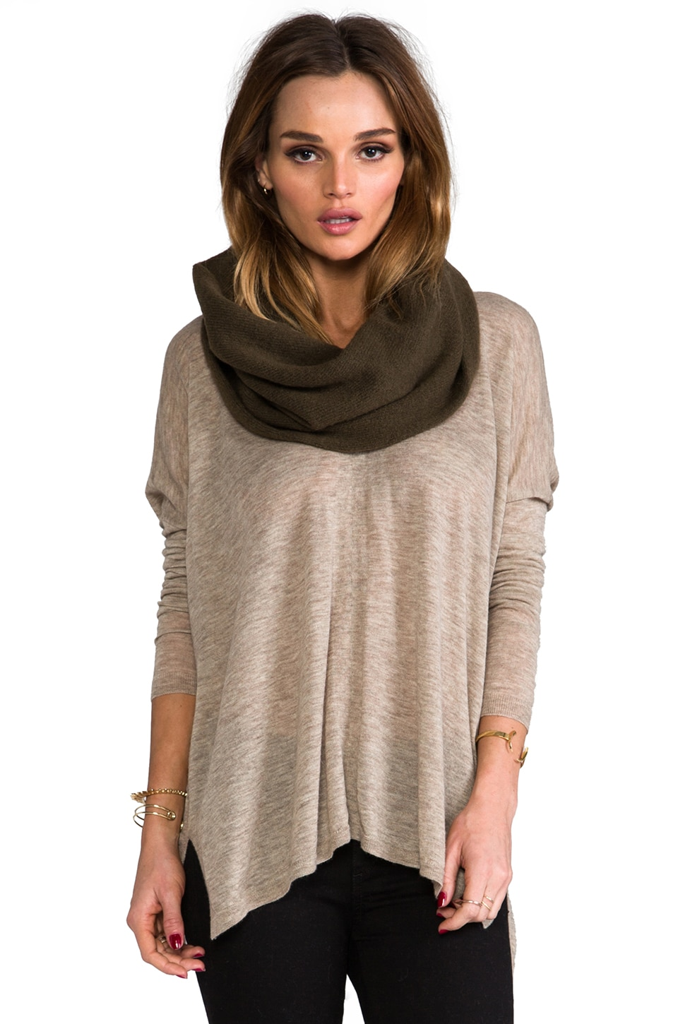 Vince Infinity Scarf in Khaki Green