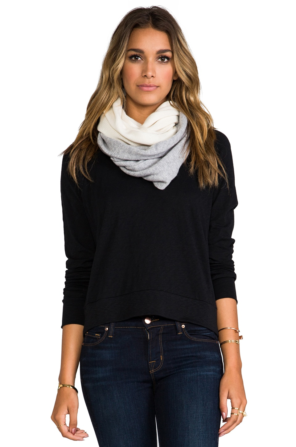 Vince Colorblock Loop Scarf in Ivory & Light Grey