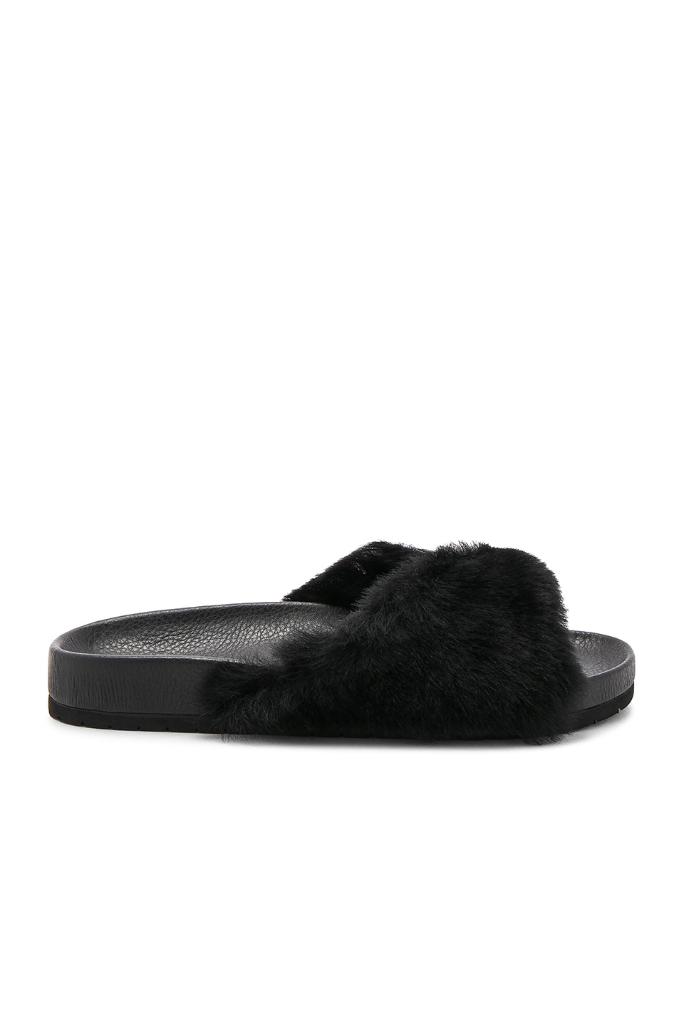 Vince Garrison Sheep Fur Slide in Black
