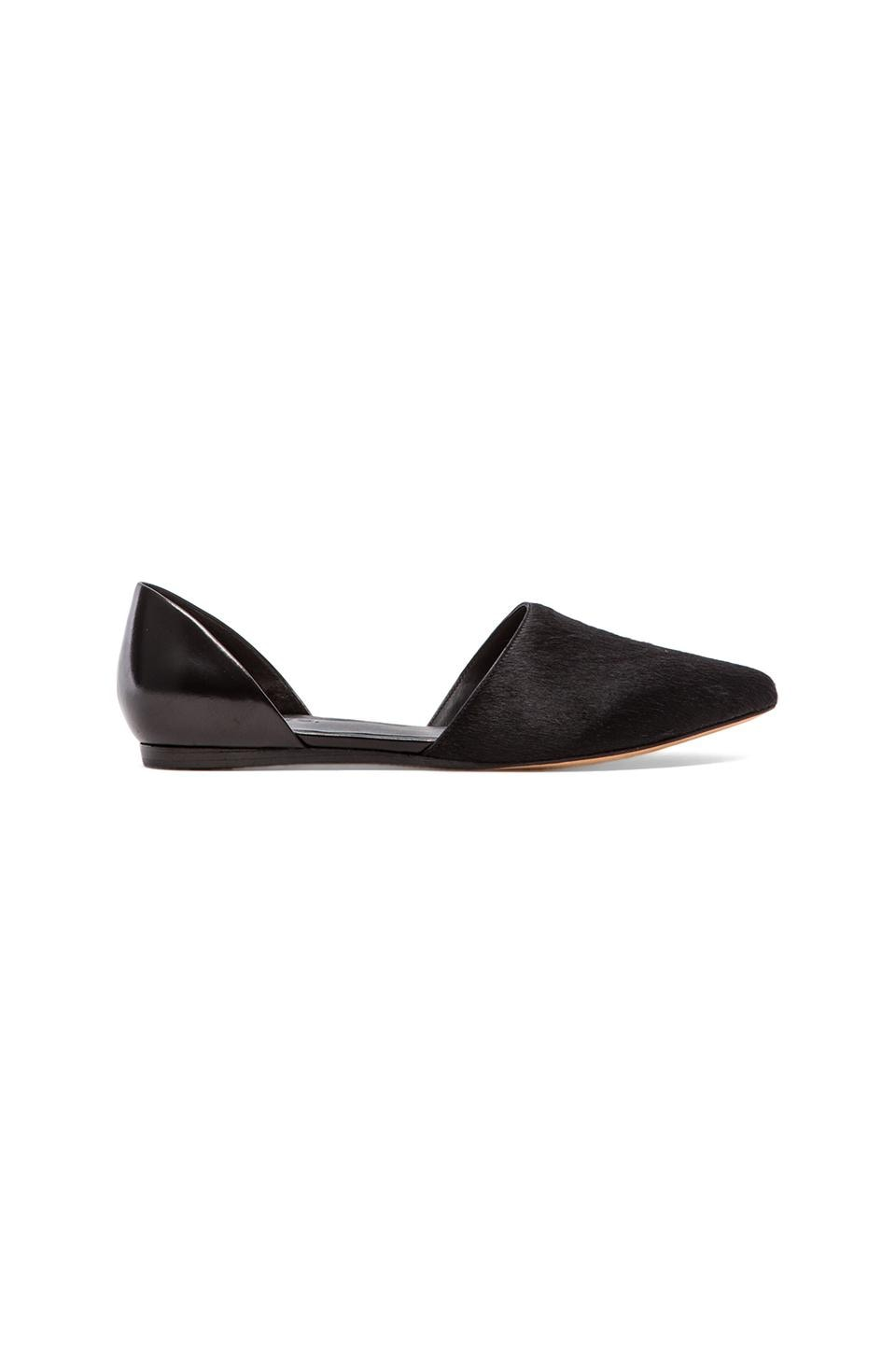 Vince Nina Flat wtih Calf Fur in Black