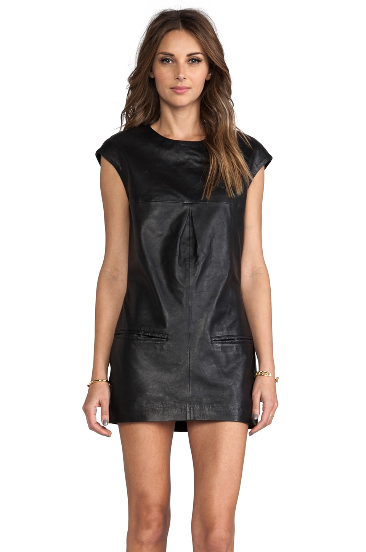 Viparo Lyel Leather Shift Dress in Black