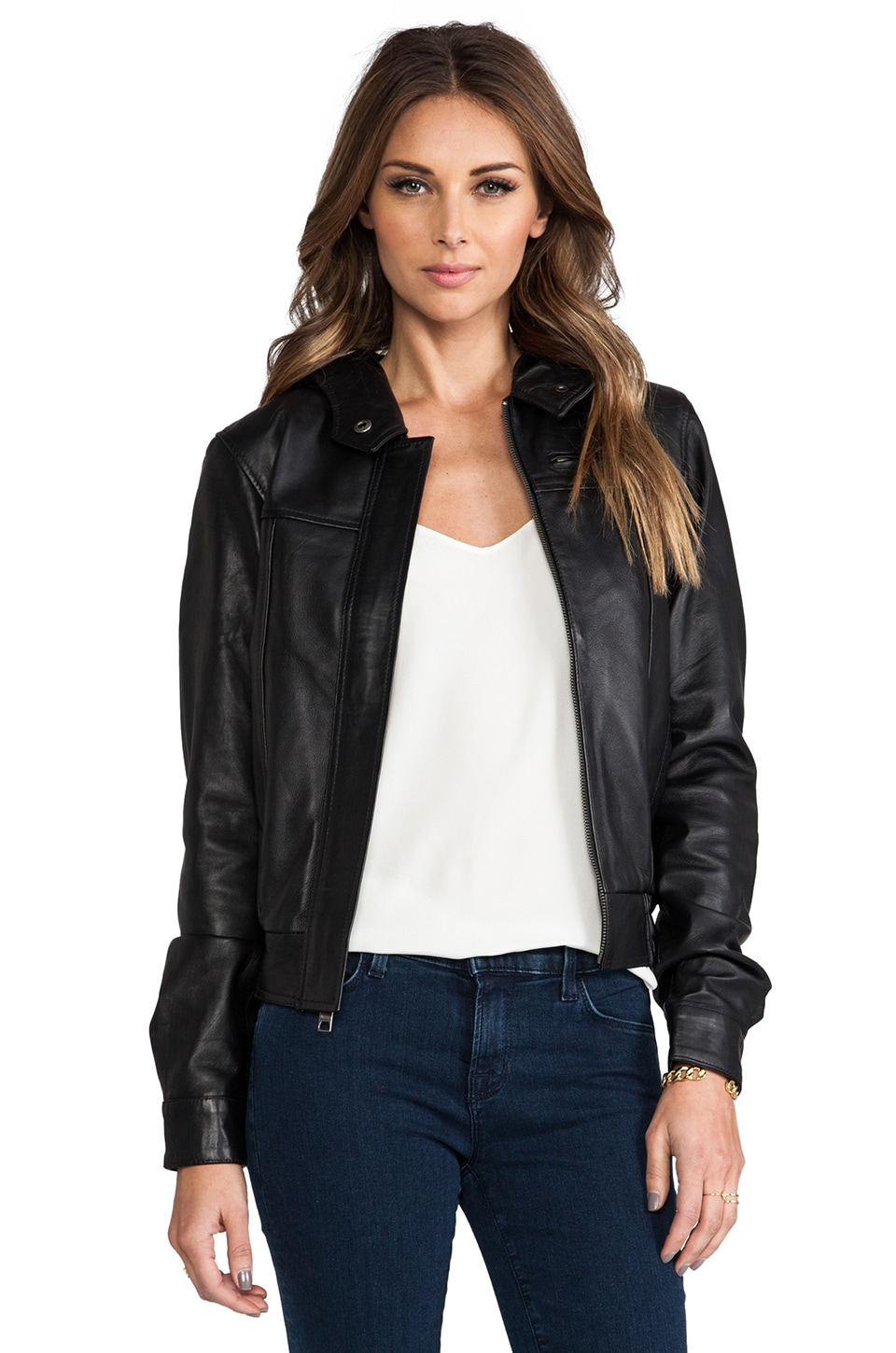 Viparo Autumn Leather Hooded Bomber Jacket in Black