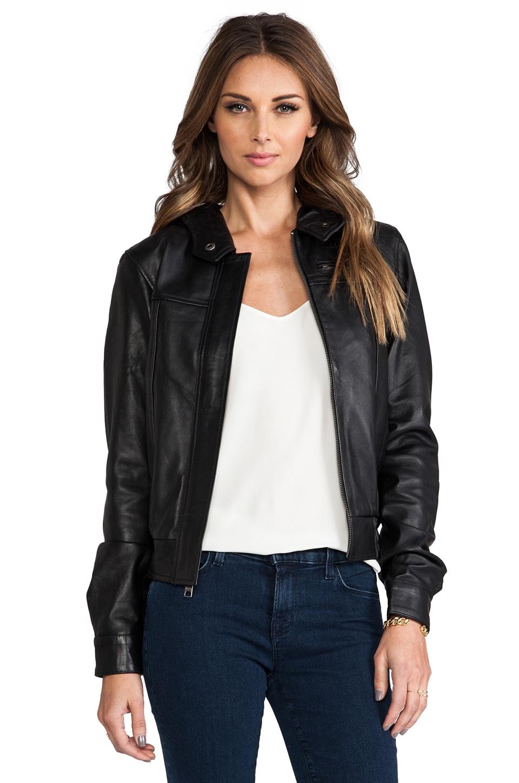 Viparo Autumn Leather Hooded Bomber Jacket in Black