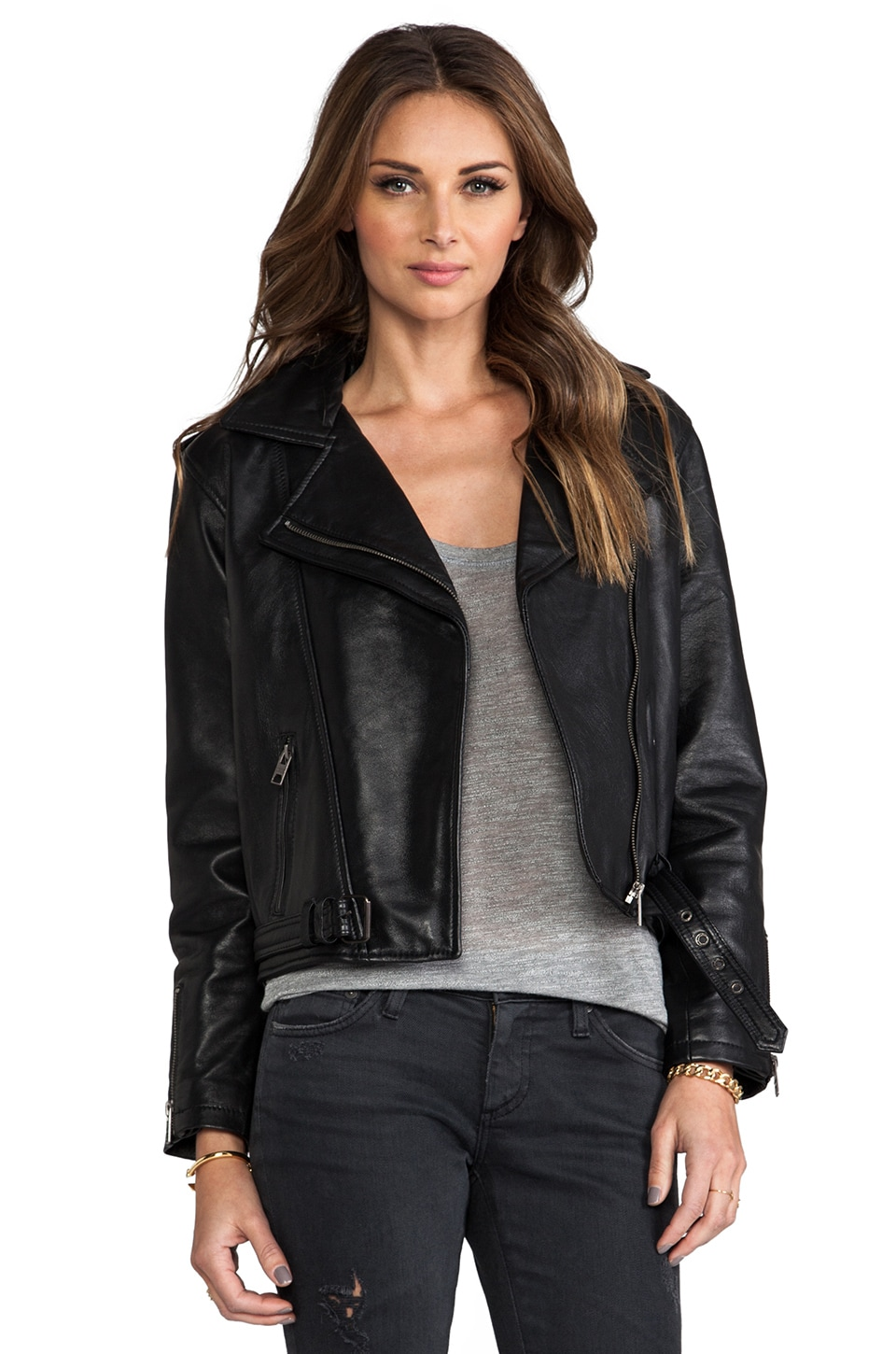 Viparo Eliza Classic Leather Biker Jacket in Black
