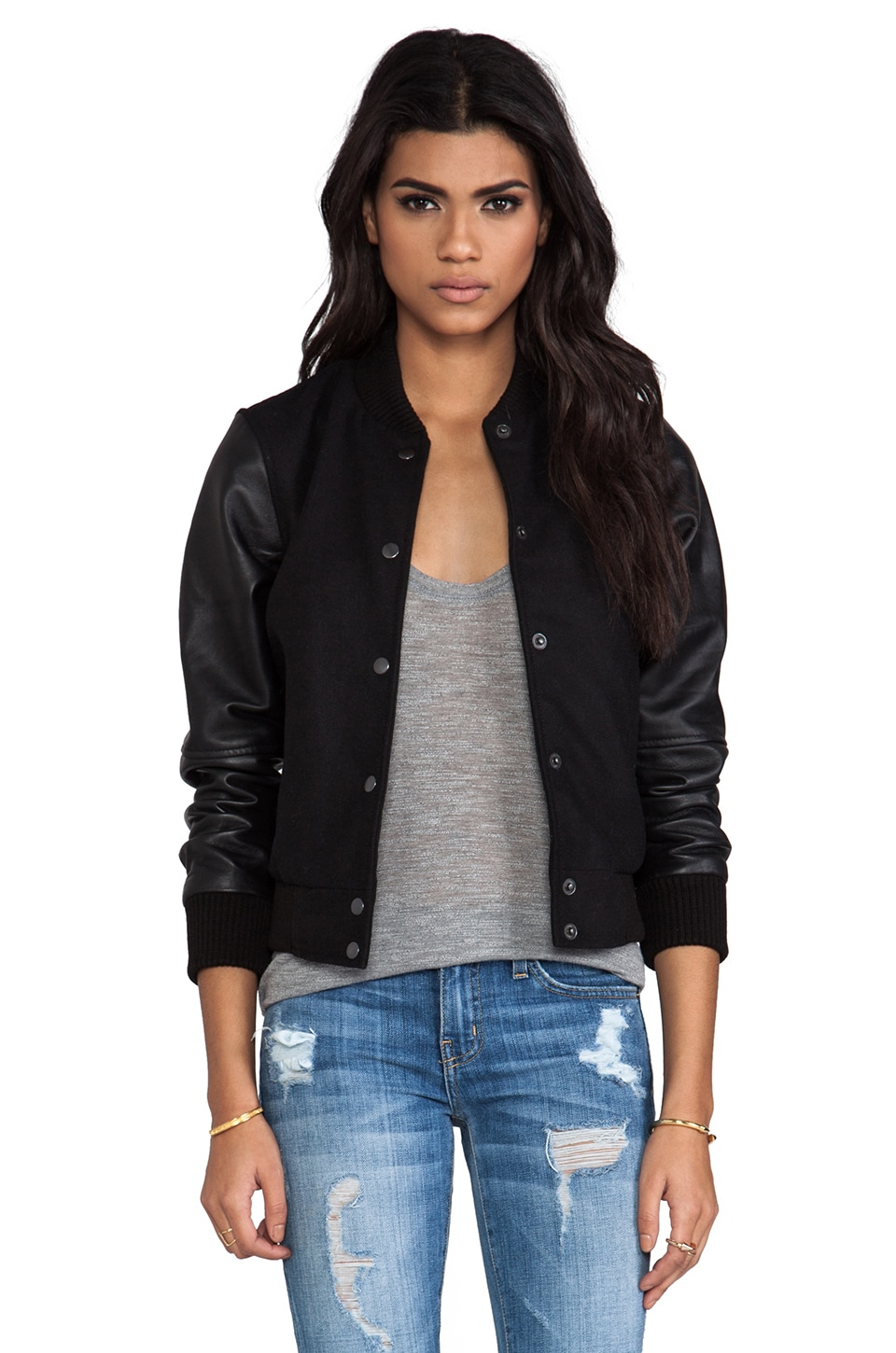 Viparo Acanthia Leather Sleeve Varsity Jacket in Black