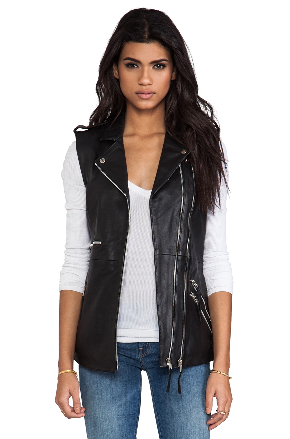Viparo Oversized Leather Biked Vest in Black