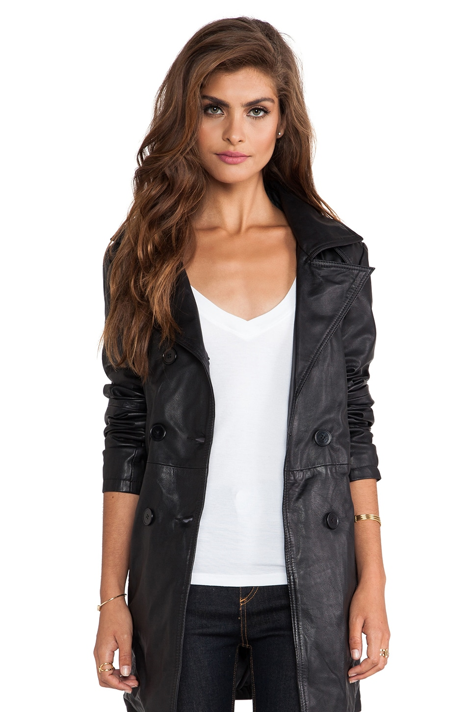 Viparo Jaylen Double Breasted Coat in Black