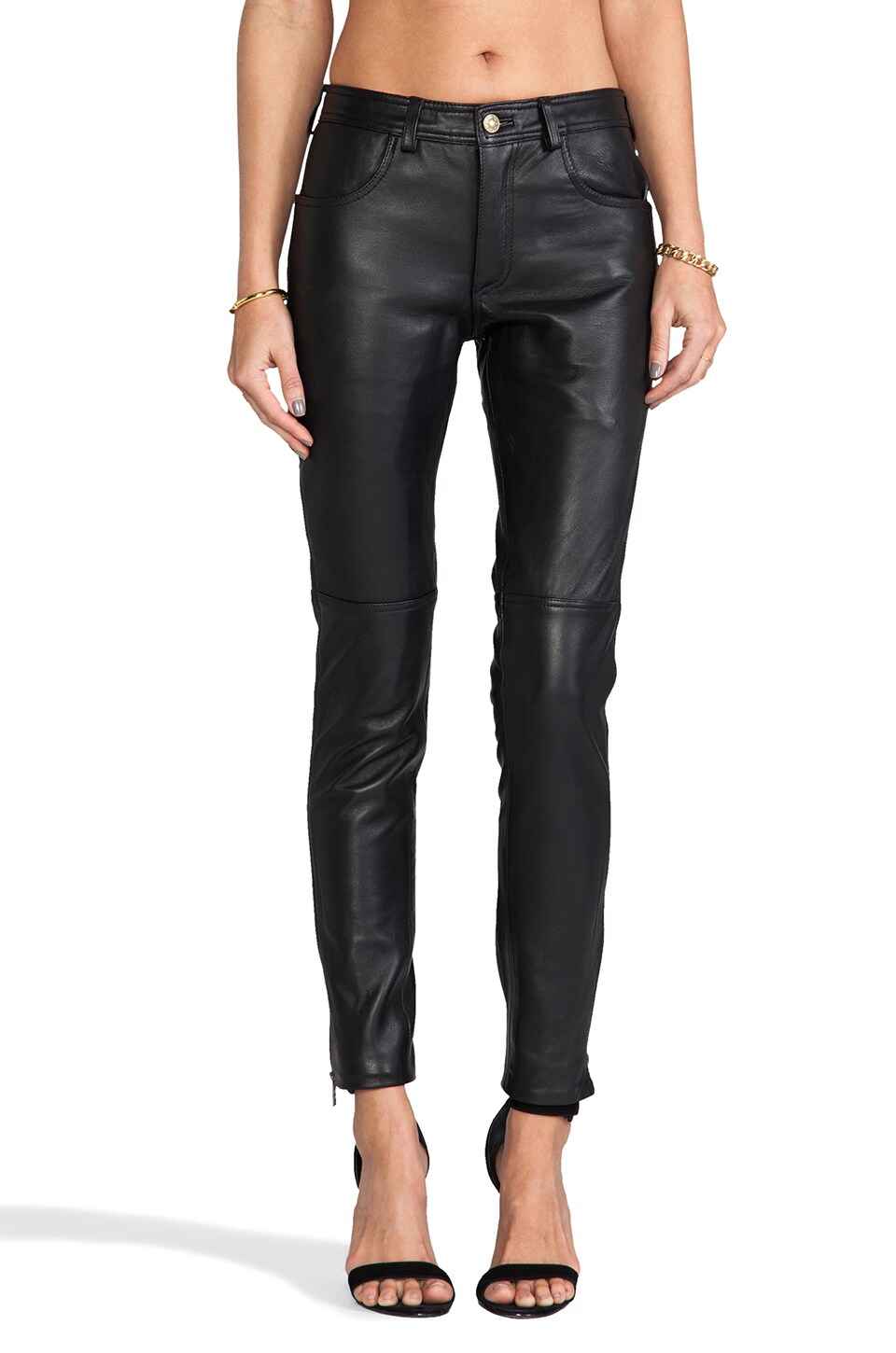 Viparo Kiara Fitted Leather Pant in Black